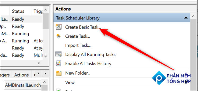 """Windows 10's Task Scheduler with a red arrow pointing to the """"Create Basic Task"""" option."""