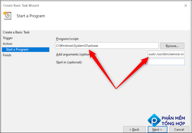Windows 10 Task Scheduler's program options with red arrows pointing to the program path and the additional arguments text entry box.