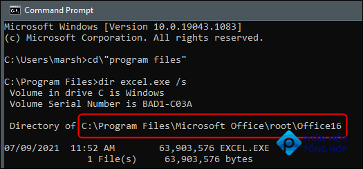 The directory of Excel returned in Command Prompt.