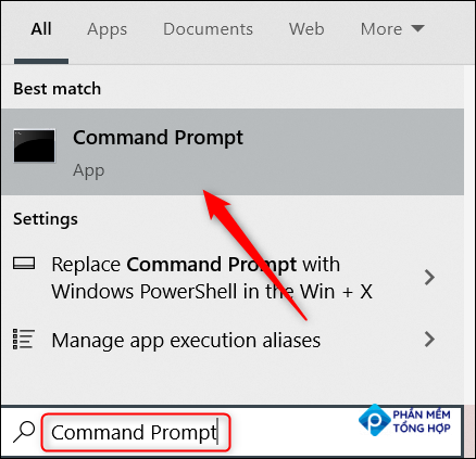 """Type """"Command Prompt"""" in the Windows search bar and click the Command Prompt app."""