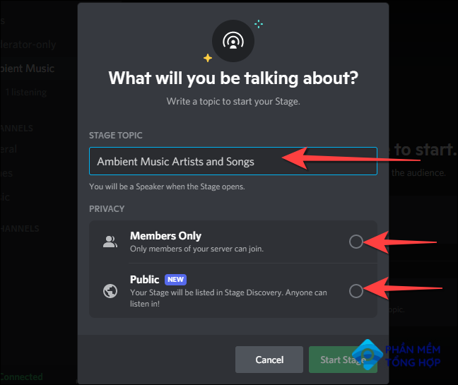 """Type a topic and choose the Stage privacy - """"Members Only"""" or """"Public."""""""