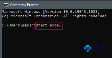 """Type """"start excel"""" in Command Prompt."""