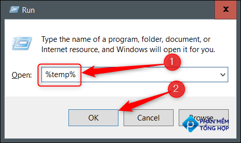 Type temp in Run and then click OK.