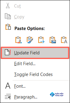 Right-click the result and pick Update Field