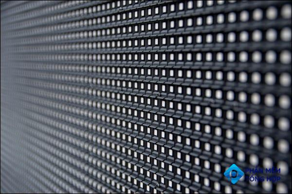 Close-up of a powered-off panel of LEDs