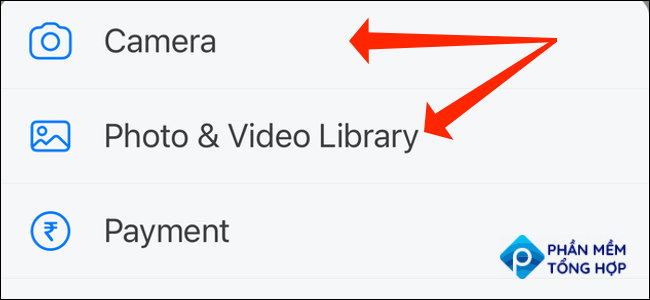 """You can click """"Camera"""" to use WhatsApp for iPhone to click photos or videos. Alternatively, you can select """"Photo & Video Library"""" to upload media files from the Photos app on your iPhone."""