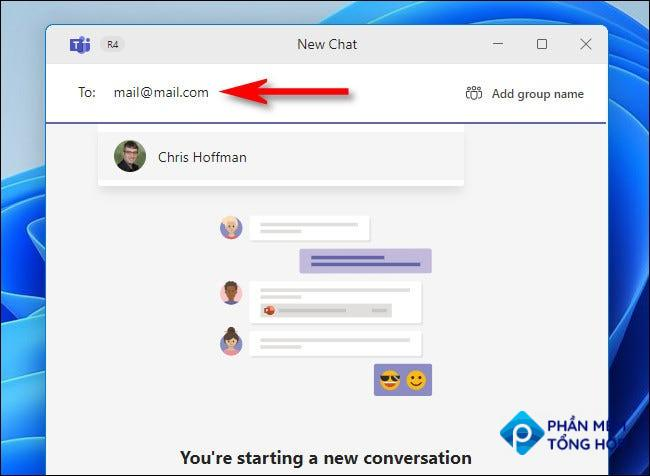 Enter a person's name to search for them in Teams chat.