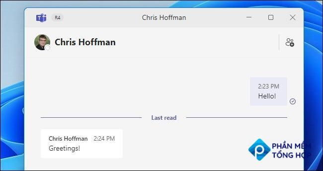 The Windows 11 Teams Chat window showing a chat in action.