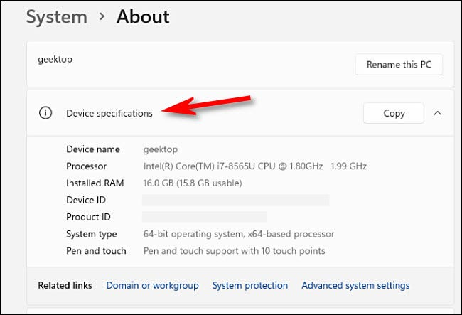 """To see your PC's specs, look under """"Device Specifications."""""""