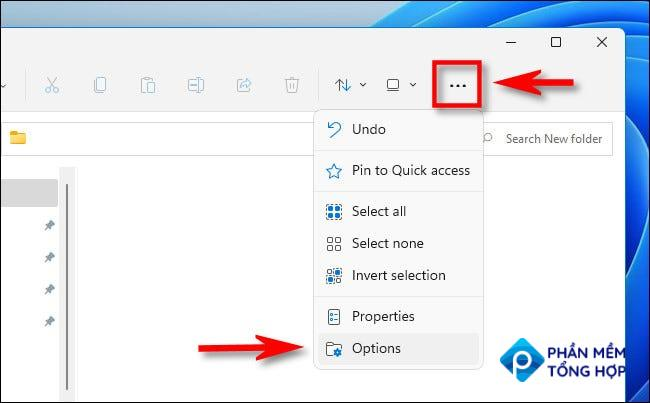 """In the Windows 11 File Explorer, click the ellipses (three dots) button and select """"Options."""""""