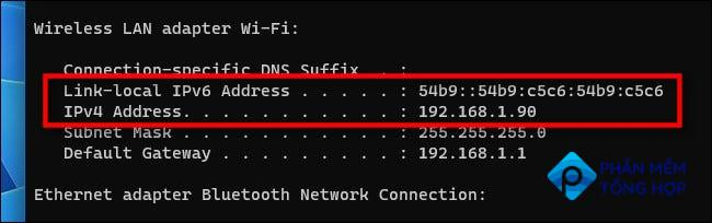 After running ipconfig, you'll see your IP address.