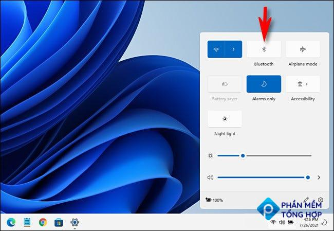 """Click the """"Bluetooth"""" button in Windows 11 Quick Settings."""