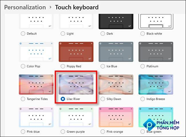 Choose a touch keyboard theme by clicking it.