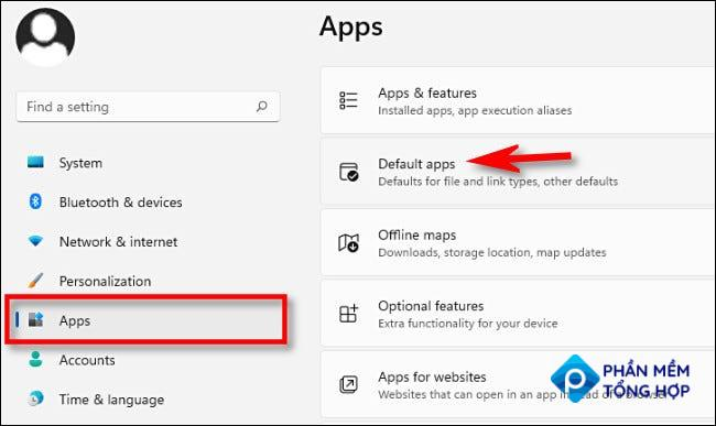 """In Windows 11 Settings, click """"Apps,"""" then select """"Default Apps."""""""