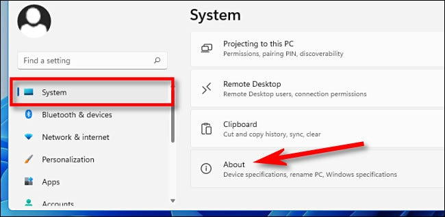 """In Settings, click """"System,"""" then """"About."""""""
