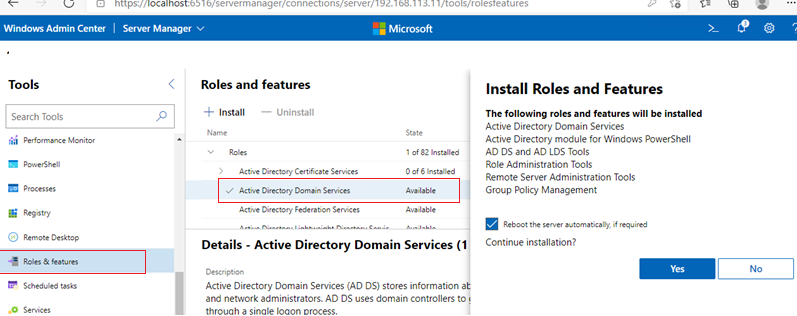Windows Admin Center installing Active Directory Domain Services role