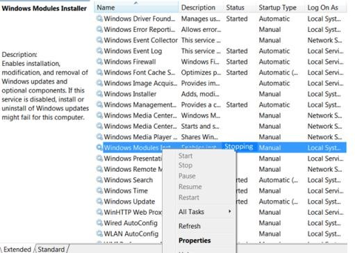 Windows Modules Installer service in stopping state