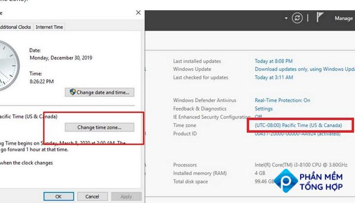 windows server manager 2019 change time zone