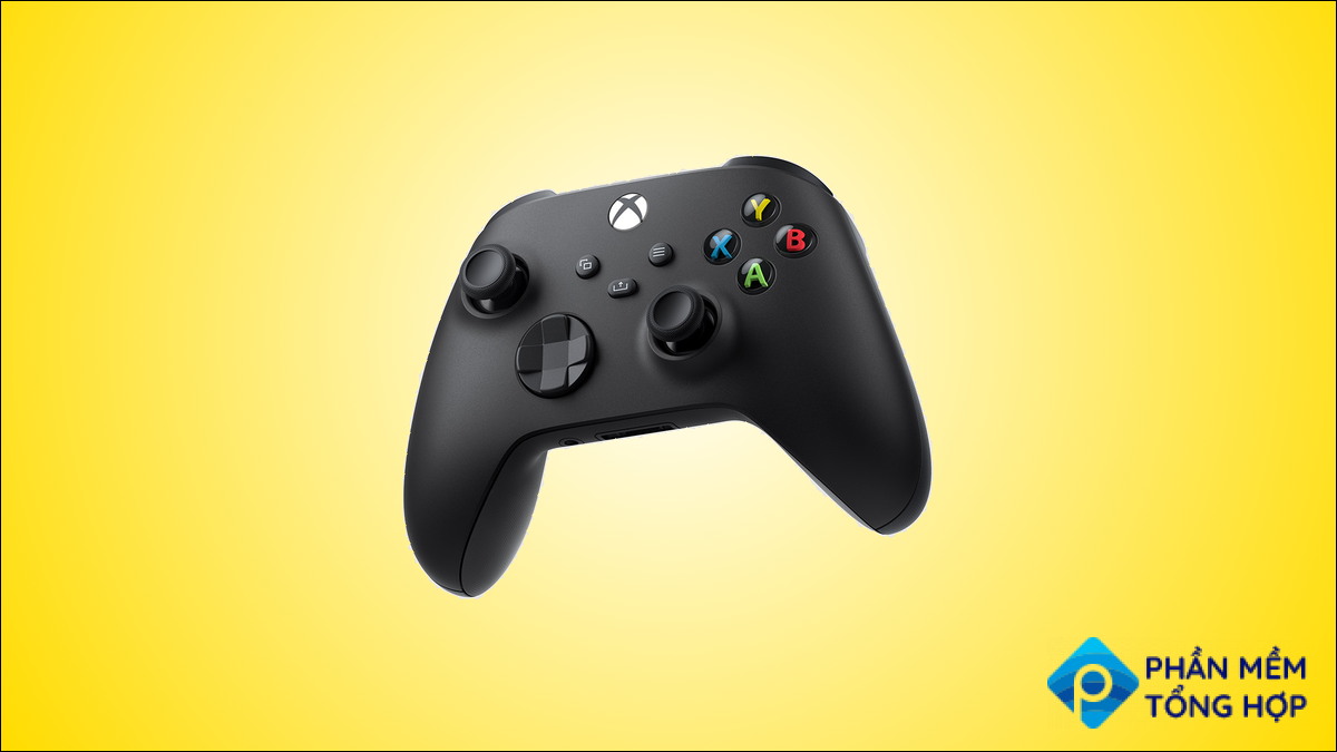 The black color variant of the Xbox Wireless Controller, against a yellow background.