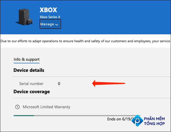 """When you've selected your Xbox on Microsoft's Devices page, you'll see the serial number under the """"Device Details"""" section in the """"Info & Support"""" tab."""