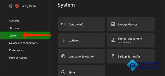 """When you've opened """"Settings"""" on the Xbox Series X S, you can select the """"System"""" tab in the left pane."""