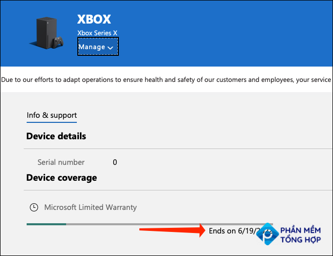 """You'll find the warranty information for your Xbox Series X S in the """"Device Coverage"""" section, which is located below the serial number on the Microsoft Devices page."""