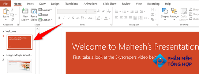 Click a slide in the left sidebar in PowerPoint.