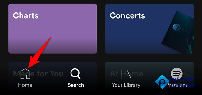 """Tap """"Home"""" in Spotify on mobile."""