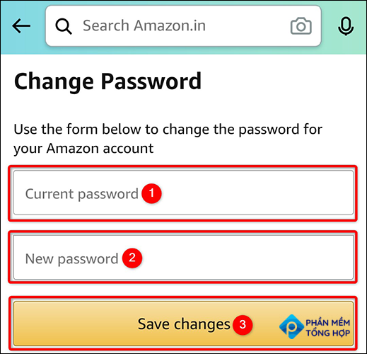 """Change the account password using the """"Change Password"""" page in the Amazon app."""