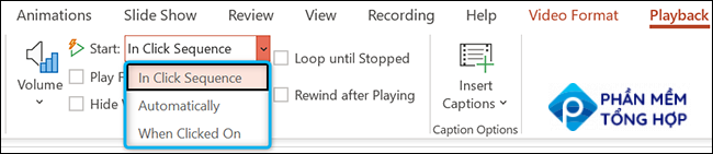 """Click the """"Start"""" drop-down menu in the """"Video Options"""" section of the """"Playback"""" tab in PowerPoint."""