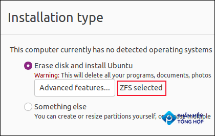 """""""ZFS selected"""" notification on the Installation Type scrren"""