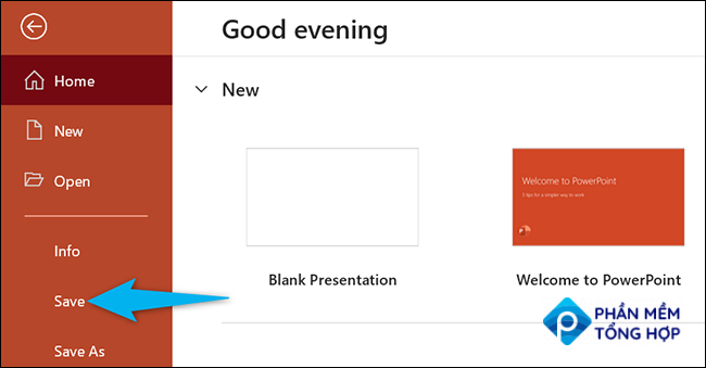 Click File > Save in PowerPoint.