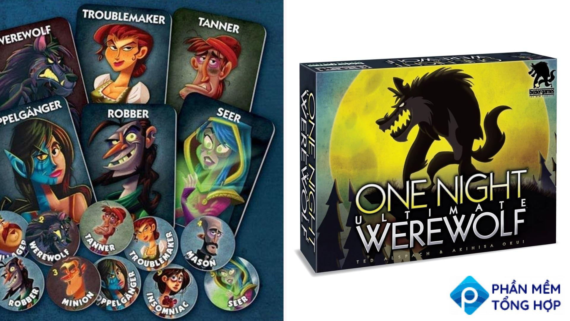 The cards and tokens from the game One Night Ultimate Werewolf.