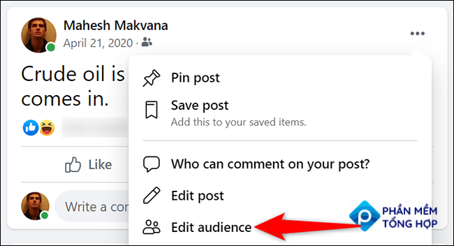 """Select """"Edit Audience"""" from the three-dots menu for a post on Facebook."""