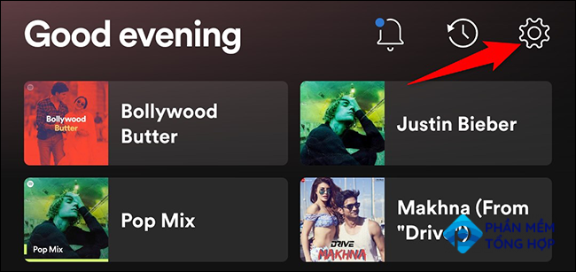 """Select """"Settings"""" on the """"Home"""" screen in Spotify on mobile."""