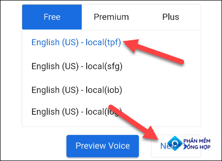 """Select a voice and tap """"Next."""""""