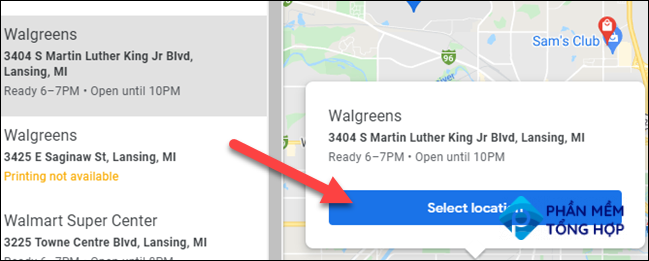 Select a location for pick up.