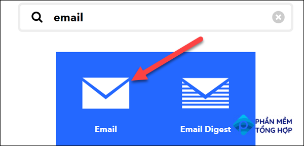 """Search for """"Email"""" and select it."""