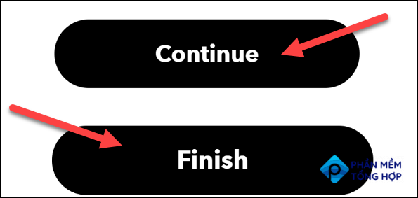 """Click """"Continue"""" and """"Finish."""""""