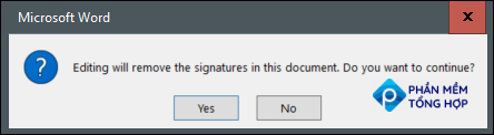A warning message stating the signature will be removed when edited.