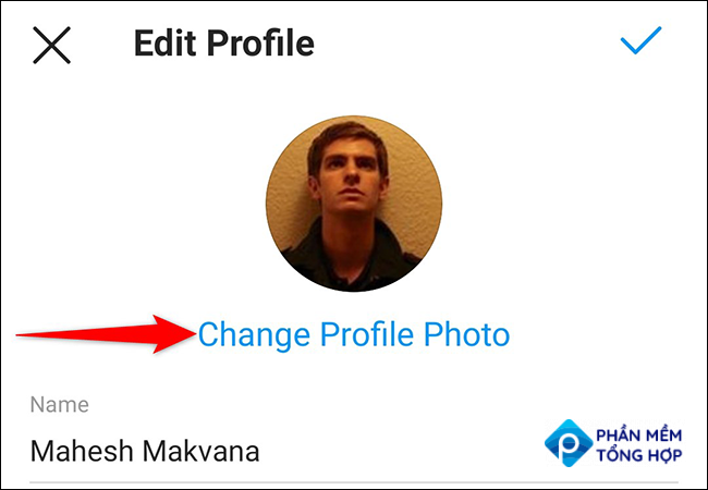 """Tap """"Change Profile Photo"""" on the """"Edit Profile"""" page in the Instagram app."""