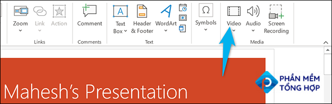 """Click """"Video"""" in the """"Insert"""" tab in PowerPoint."""