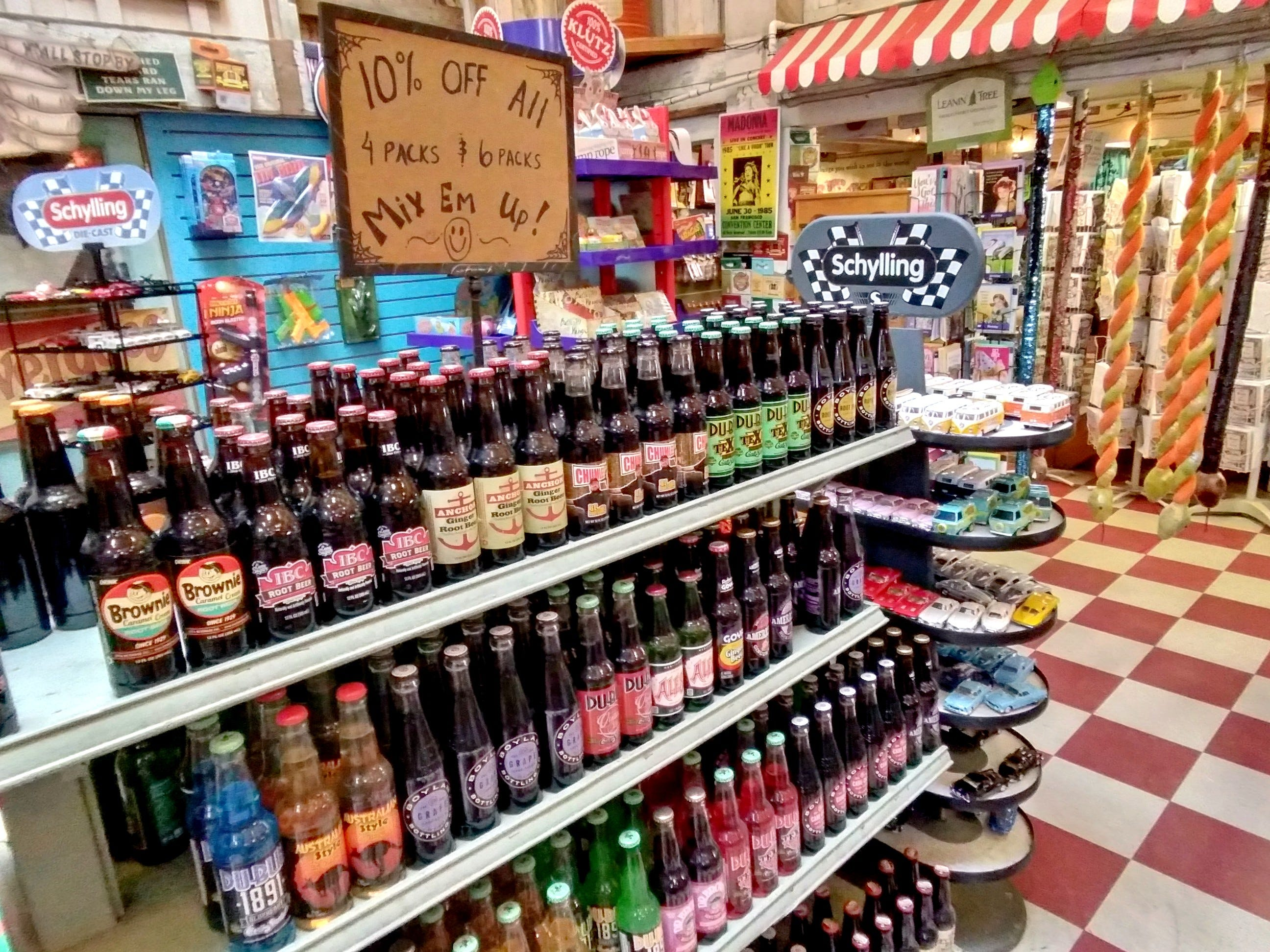 bottles of rootbeer in a small general store
