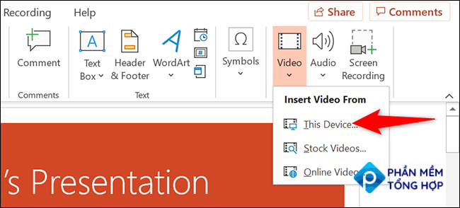 """Select """"This Device"""" from the """"Insert Video From"""" menu in PowerPoint."""