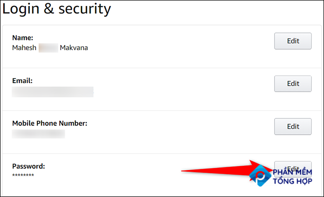 """Click """"Edit"""" next to """"Password"""" on the """"Login & Security"""" page of the Amazon site."""