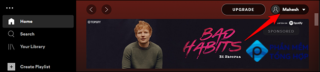 Click the user name at the top of Spotify on desktop.