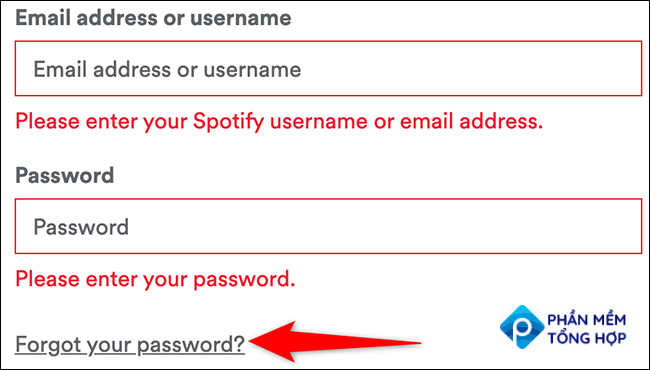 """Click """"Forgot Your Password"""" on the login page of Spotify."""