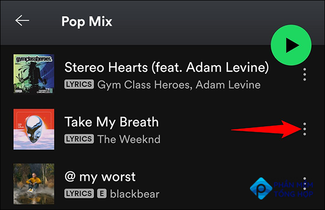 Tap the three dots next to an item in the Spotify app.