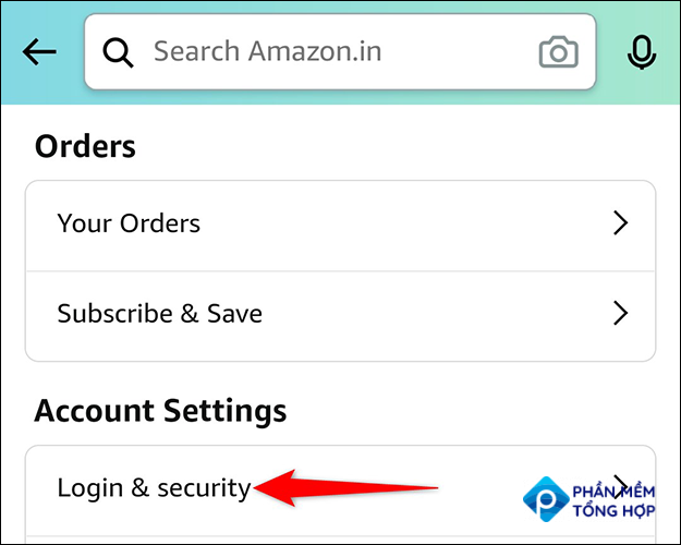 """Select """"Login & Security"""" from the """"Account Settings"""" section on the """"Your Account"""" page in the Amazon app."""