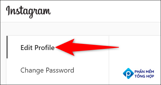 """Choose """"Edit Profile"""" on the settings page of the Instagram site."""